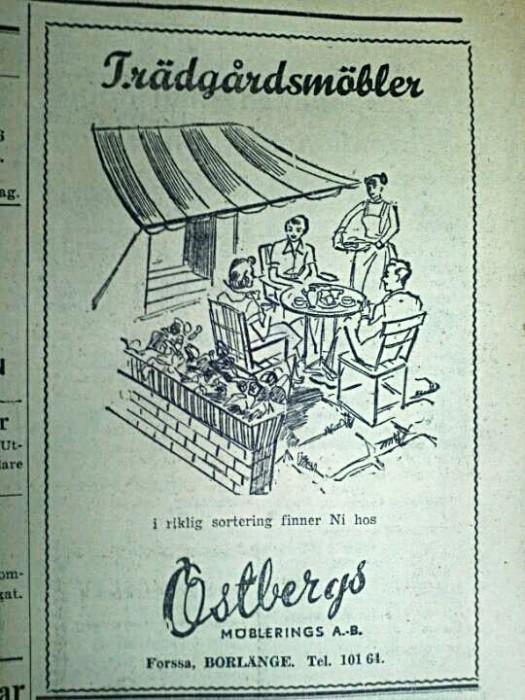 Östbergs Utemöbler 1950-talet