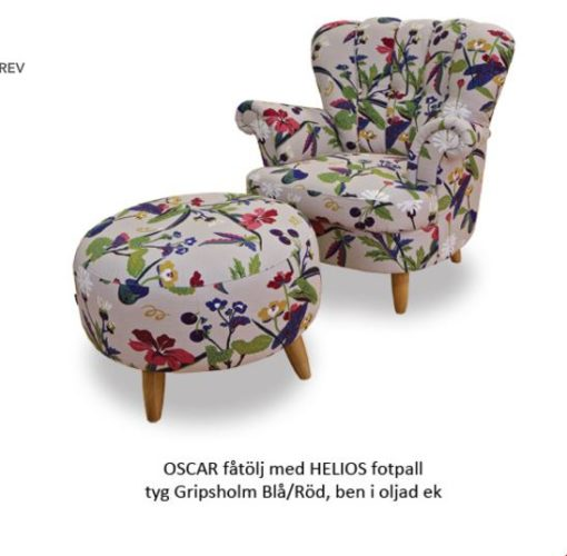 Oscar fåtölj m pall - Tela möbler