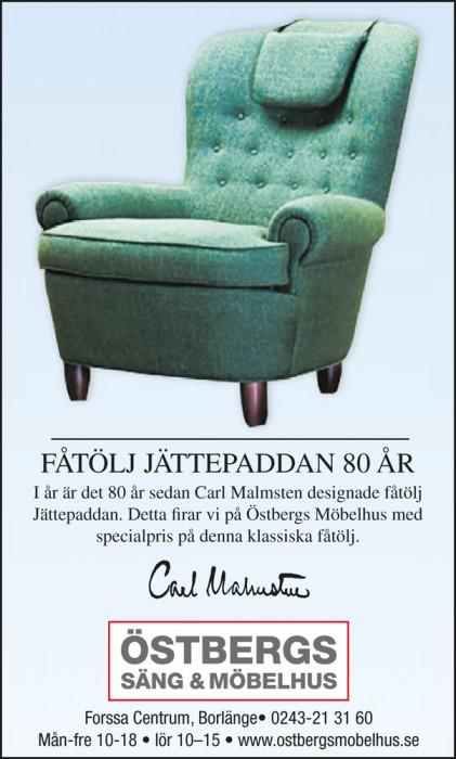 Jättepaddan 80 år. Möbler  hos Östbergs Säng & Möbelhus
