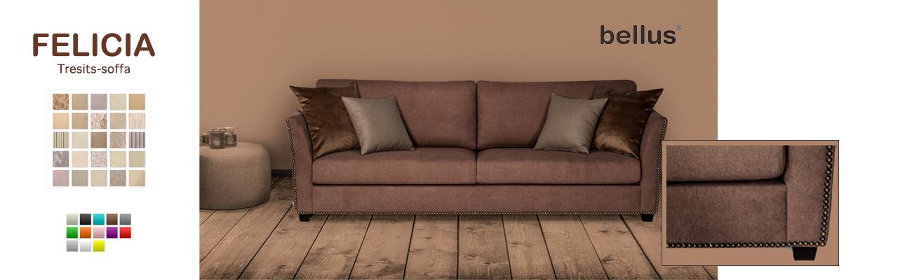 Felicia tresists-soffa. Östbergs Säng & Möbelhus, Borlänge